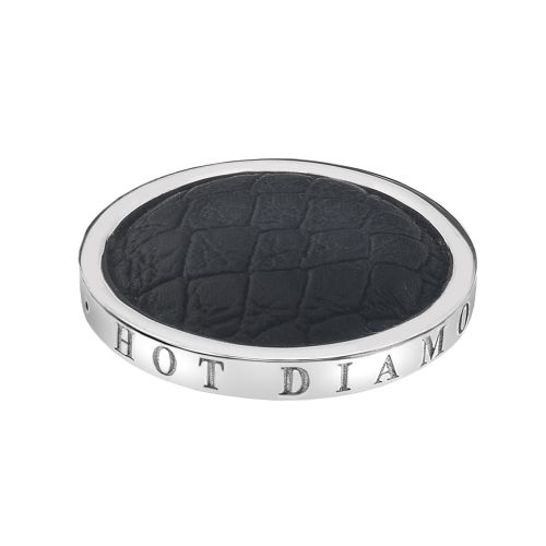 Hot Diamonds Emozioni Silver Plated Stainless Steel Faux Crocodile Black Coin - Small 25mm EC090